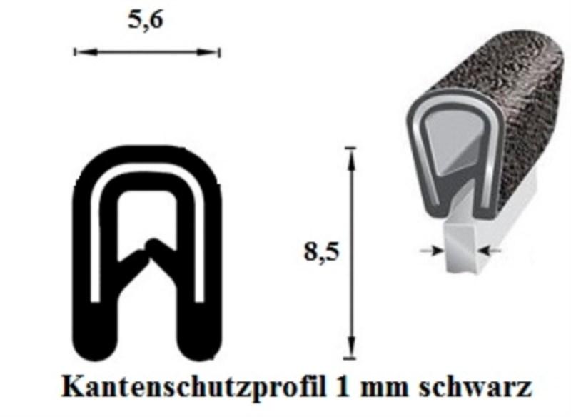 kantenschutzprofil 1 mm schwarz 100 m onlineshop technischer handel straub. Black Bedroom Furniture Sets. Home Design Ideas