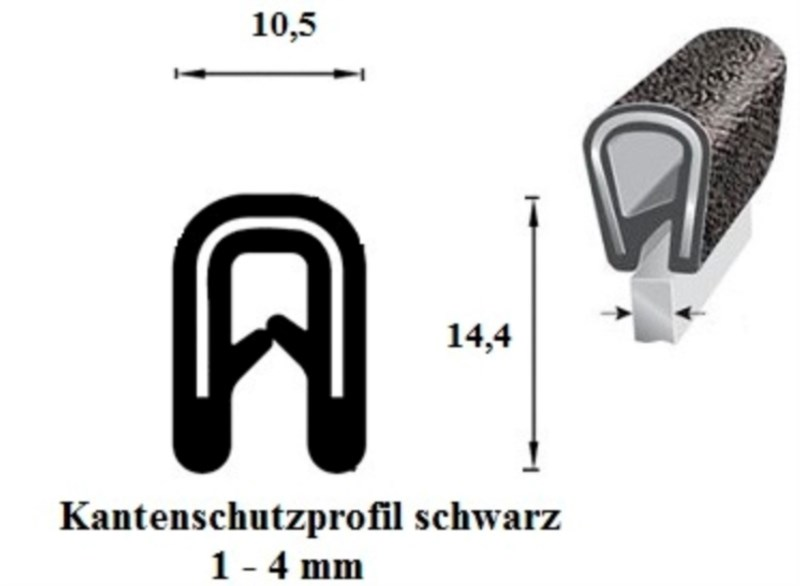 kantenschutzprofil 1 4 mm schwarz 100 m onlineshop technischer handel straub. Black Bedroom Furniture Sets. Home Design Ideas